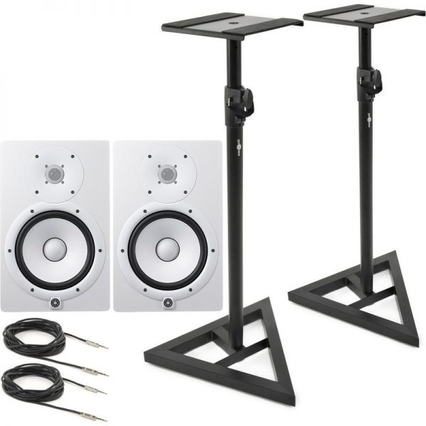 Yamaha HS8W Full-Range Studio Monitor (Pair) White with Stands HS8WUK-STANDS090121 5055888800056