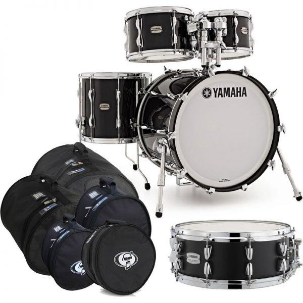 Yamaha Recording Custom 5pc Shell Pack Solid Black w/Bag Set JRBFUSIONSOB-SNR-BGS090121