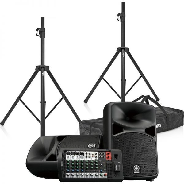 Yamaha Stagepas 600BT Portable PA System with Speaker Stands CSTAGEPAS600BUK-BUNDLE090121 4957812624671