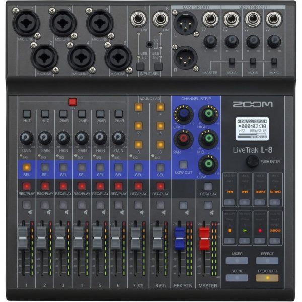 Zoom LiveTrak L-8 Mixer for Podcasters and Musicians LIVETRACK-L8090121 4515260021215